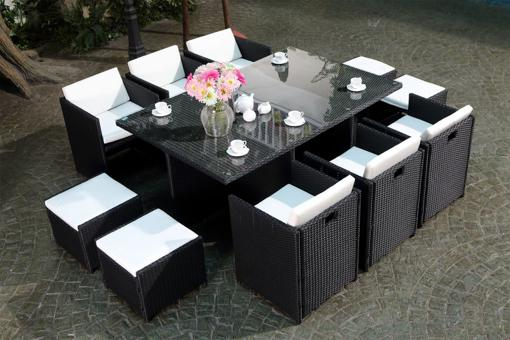 table de jardin tressé